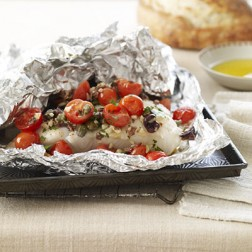 Sea Bass Baked in Foil with Pesto